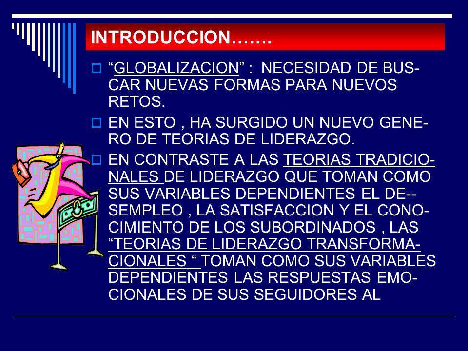 INTRODUCCION……. GLOBALIZACION : NECESIDAD DE BUS- CAR NUEVAS FORMAS PARA NUEVOS RETOS.