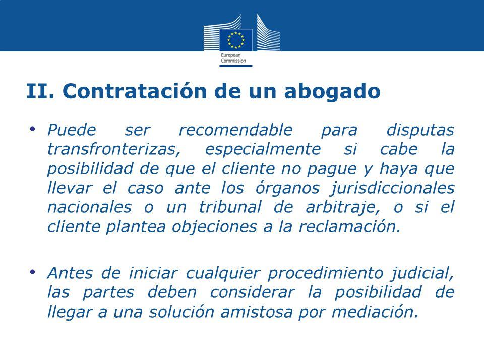 II. Contratación de un abogado