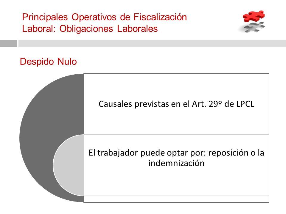 Causales previstas en el Art. 29º de LPCL