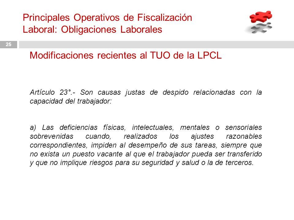 Modificaciones recientes al TUO de la LPCL