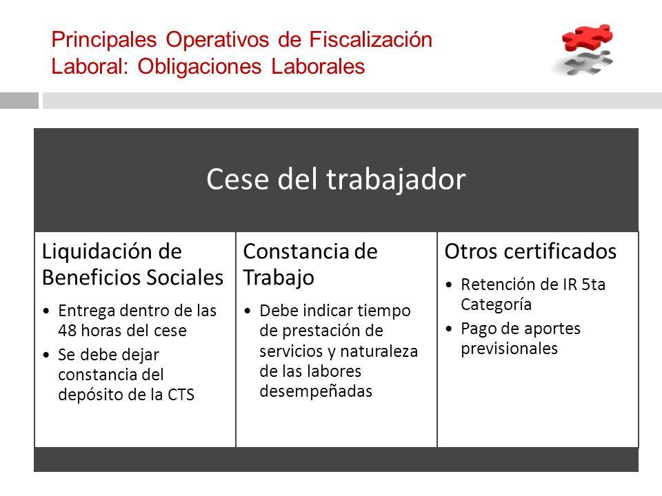 Principales Operativos de Fiscalización Laboral: Obligaciones Laborales