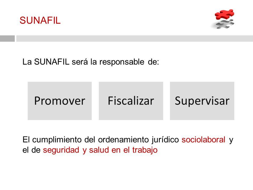 SUNAFIL La SUNAFIL será la responsable de: