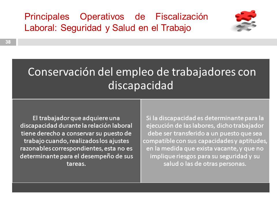 Conservación del empleo de trabajadores con discapacidad