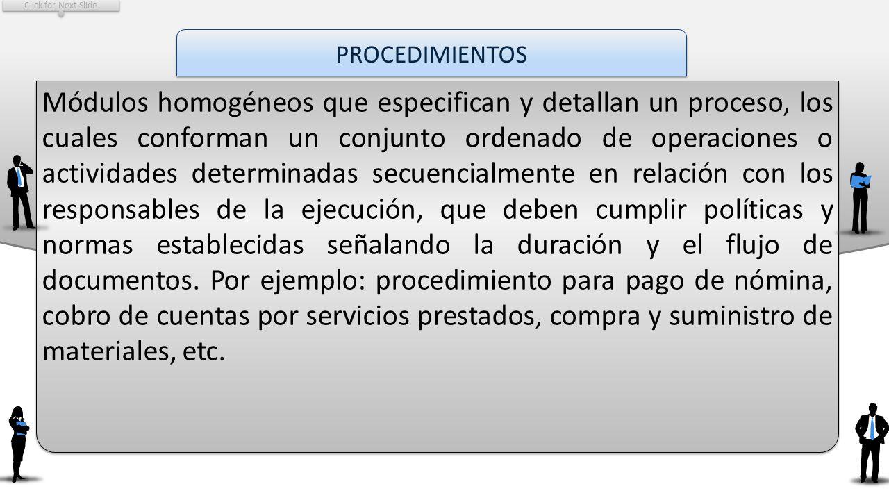 Click for Next Slide PROCEDIMIENTOS.