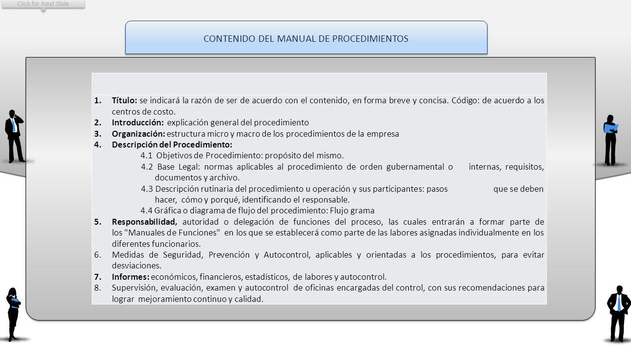 CONTENIDO DEL MANUAL DE PROCEDIMIENTOS