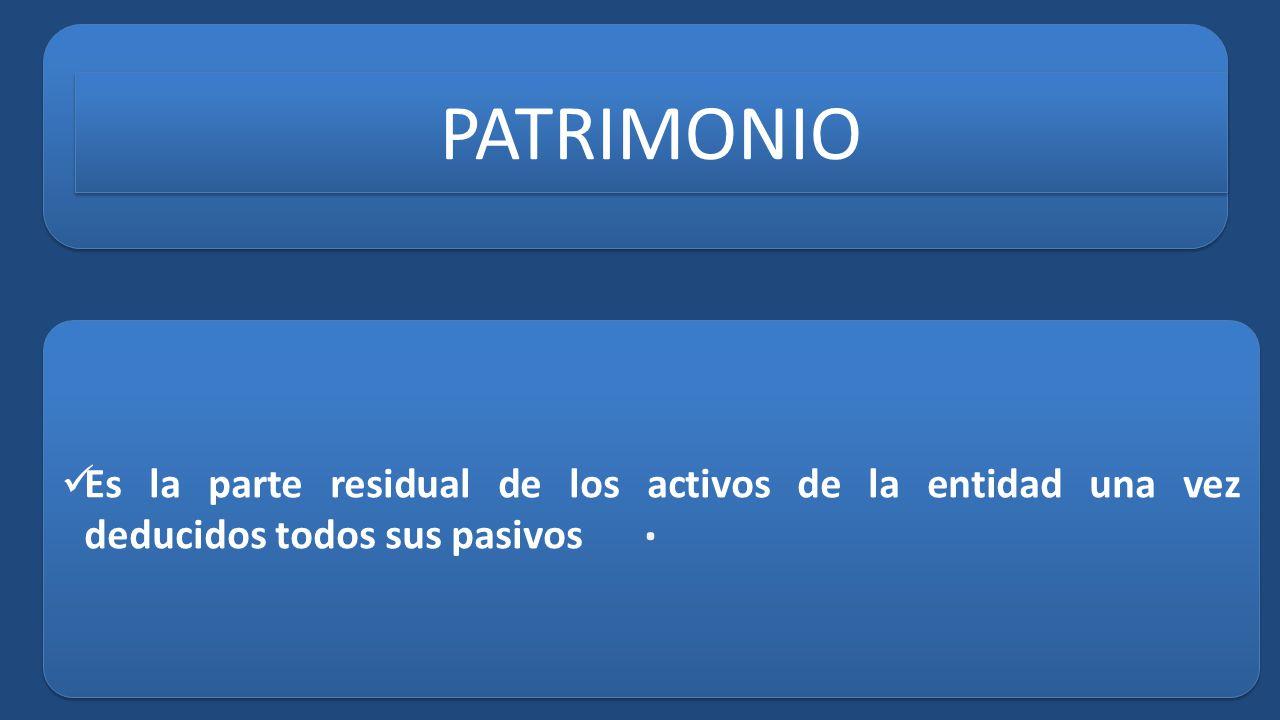 PATRIMONIO Es la parte residual de los activos de la entidad una vez deducidos todos sus pasivos .