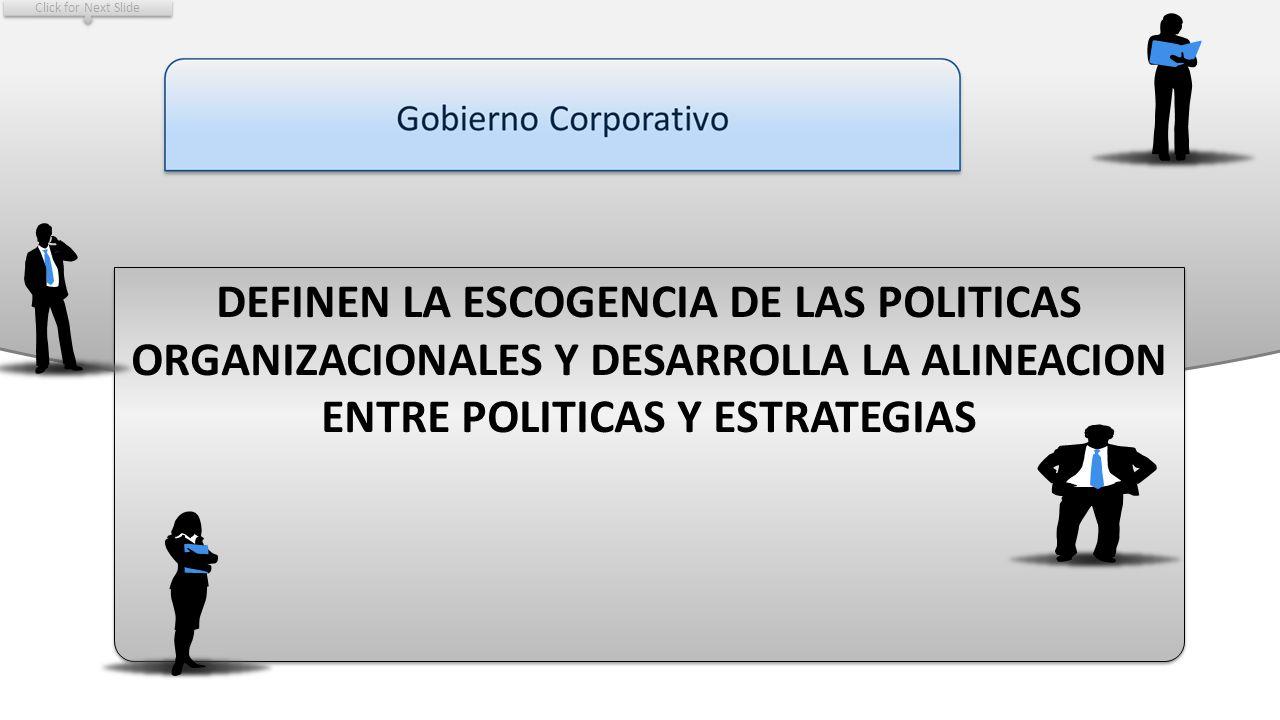 Click for Next Slide DEFINEN LA ESCOGENCIA DE LAS POLITICAS ORGANIZACIONALES Y DESARROLLA LA ALINEACION ENTRE POLITICAS Y ESTRATEGIAS.