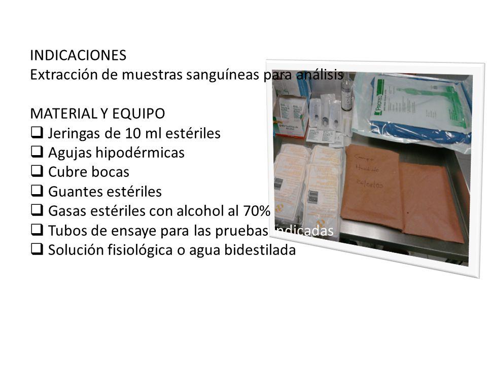 INDICACIONES Extracción de muestras sanguíneas para análisis. MATERIAL Y EQUIPO. Jeringas de 10 ml estériles.