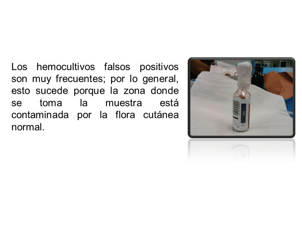 Los hemocultivos falsos positivos son muy frecuentes; por lo general, esto sucede porque la zona donde se toma la muestra está contaminada por la flora cutánea normal.