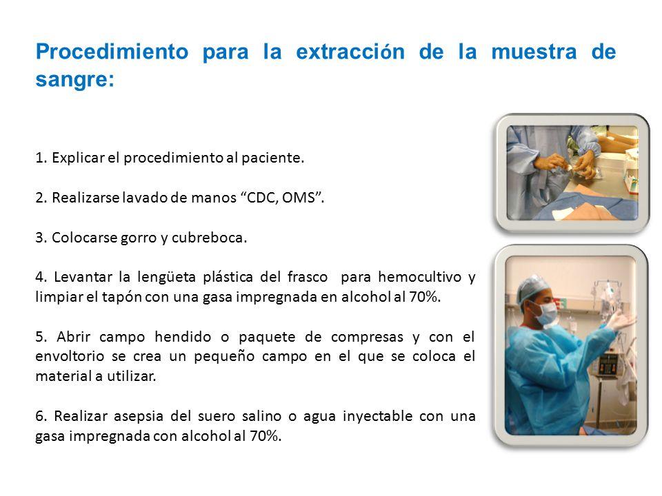 Procedimiento para la extracción de la muestra de sangre: