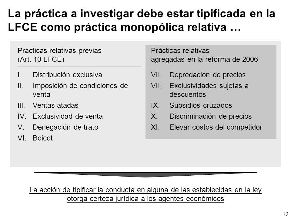 La práctica a investigar debe estar tipificada en la LFCE como práctica monopólica relativa …