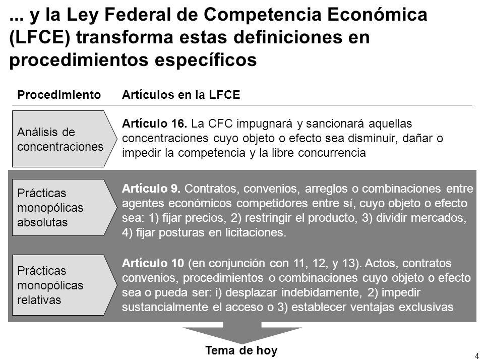 ... y la Ley Federal de Competencia Económica (LFCE) transforma estas definiciones en procedimientos específicos