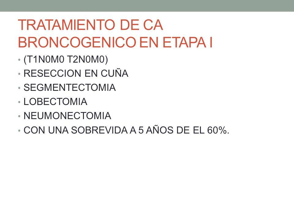 TRATAMIENTO DE CA BRONCOGENICO EN ETAPA I