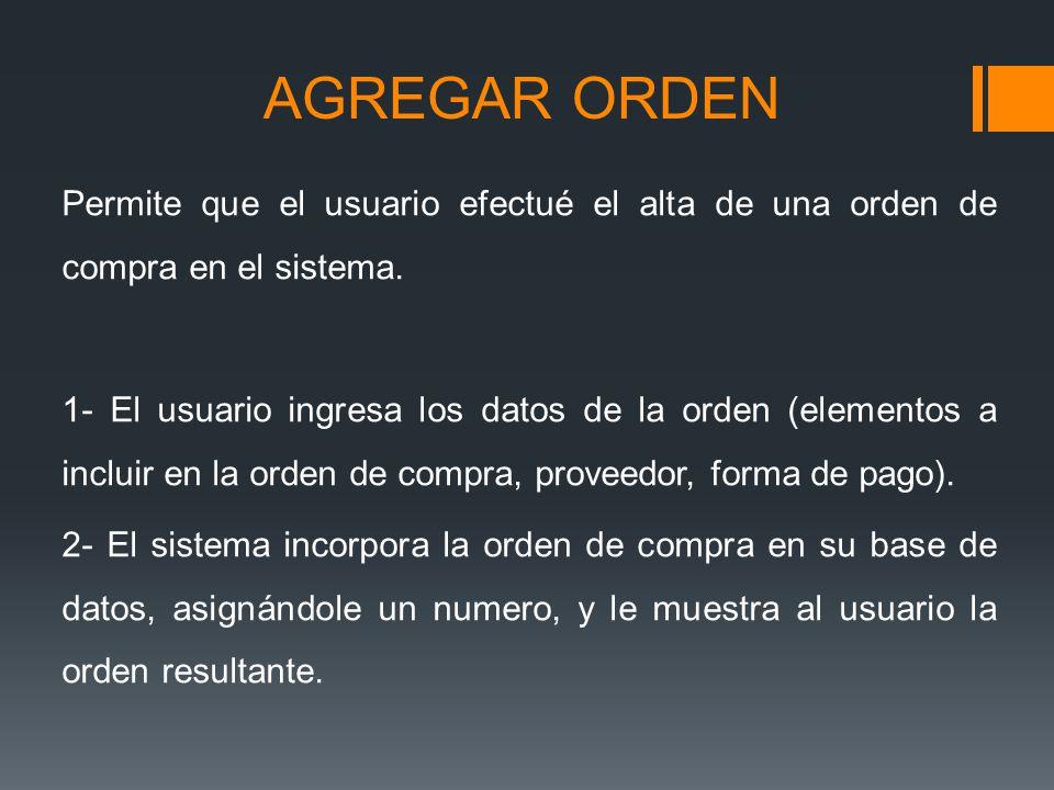 AGREGAR ORDEN