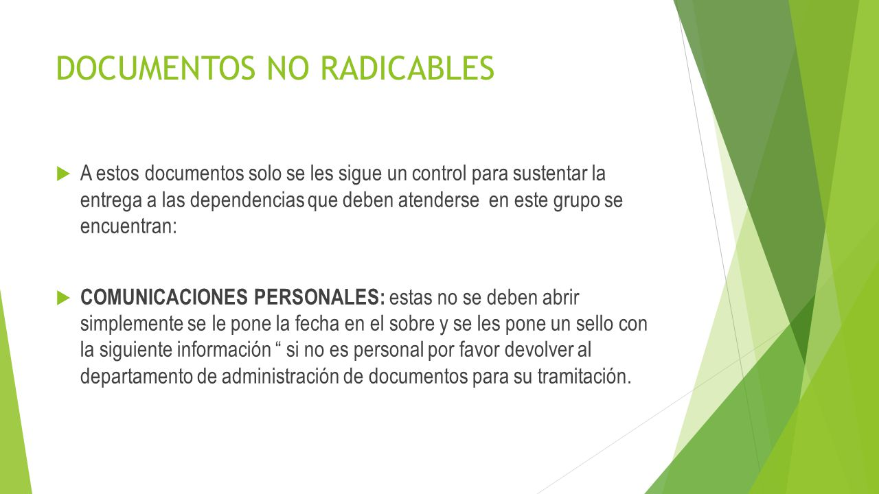 DOCUMENTOS NO RADICABLES