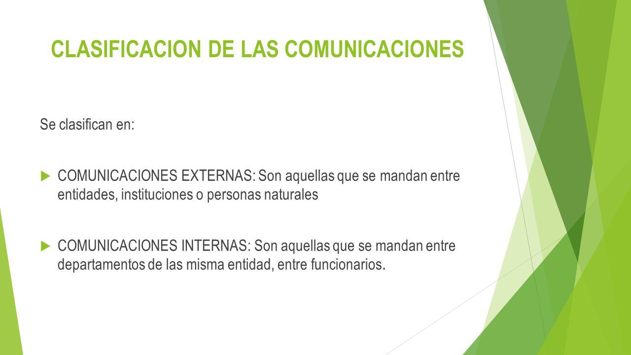 CLASIFICACION DE LAS COMUNICACIONES