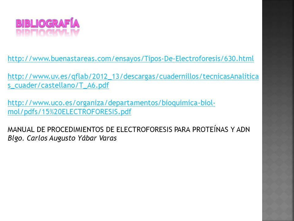Bibliografía http://www.buenastareas.com/ensayos/Tipos-De-Electroforesis/630.html.