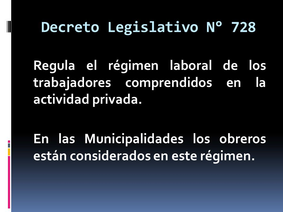 Decreto Legislativo N° 728