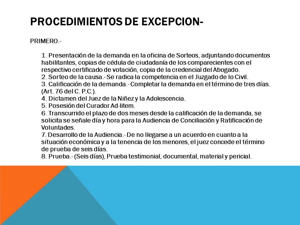 PROCEDIMIENTOS DE EXCEPCION-