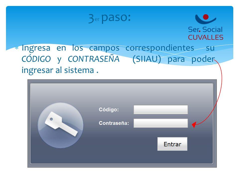 3er paso: Ingresa en los campos correspondientes su CÓDIGO y CONTRASEÑA (SIIAU) para poder ingresar al sistema .