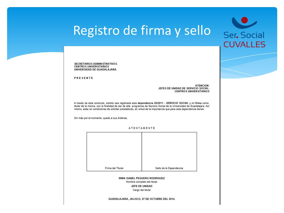 Registro de firma y sello