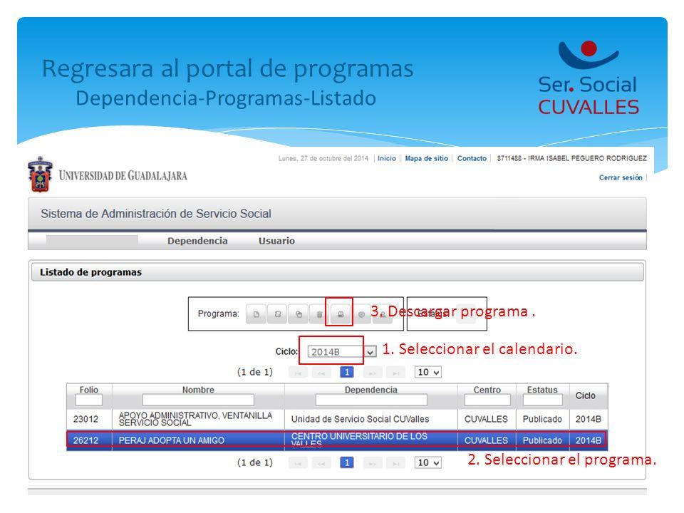 Regresara al portal de programas