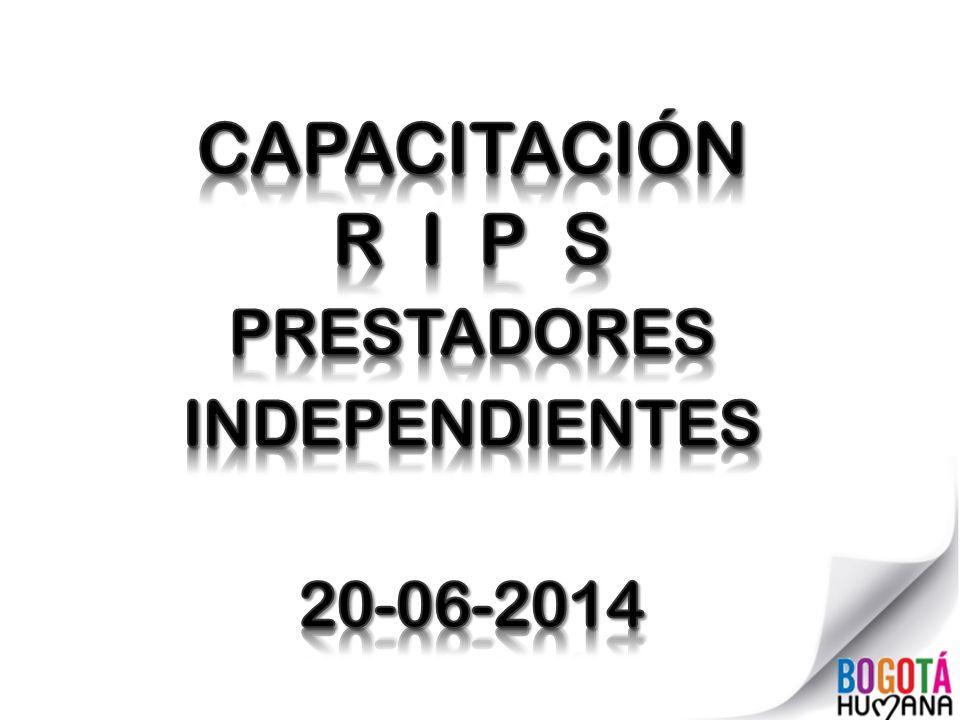 CAPACITACIÓN R I P S PRESTADORES INDEPENDIENTES 20-06-2014