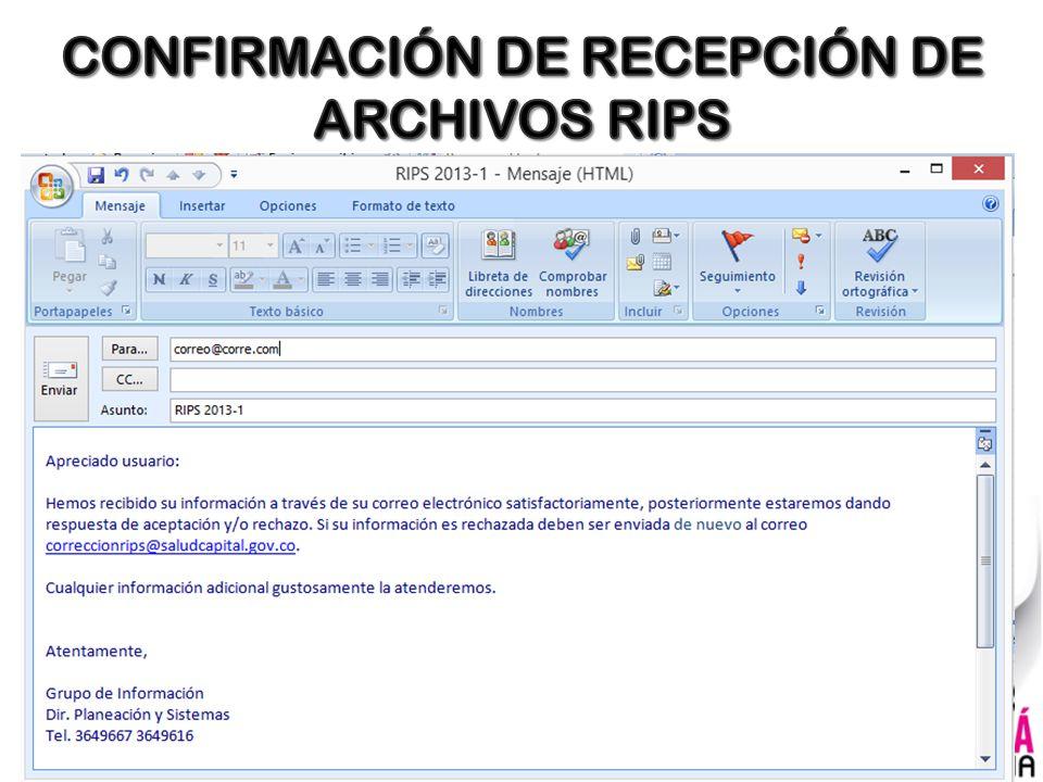 CONFIRMACIÓN DE RECEPCIÓN DE ARCHIVOS RIPS