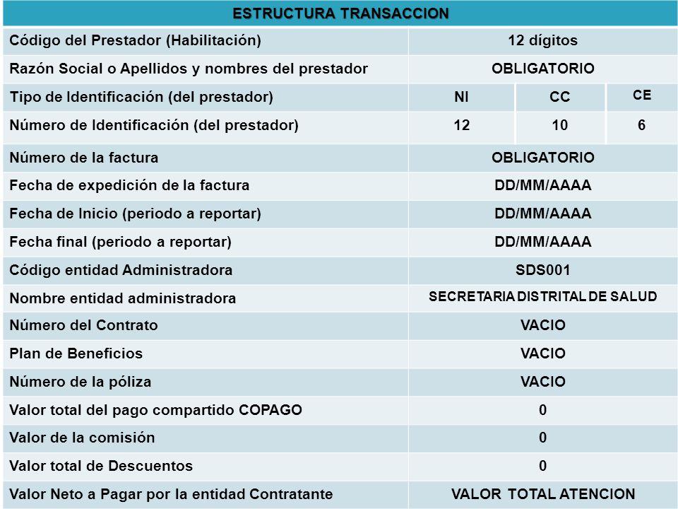 ESTRUCTURA TRANSACCION SECRETARIA DISTRITAL DE SALUD