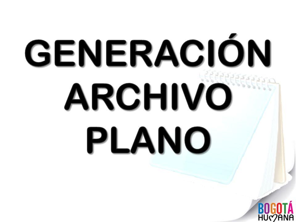 GENERACIÓN ARCHIVO PLANO