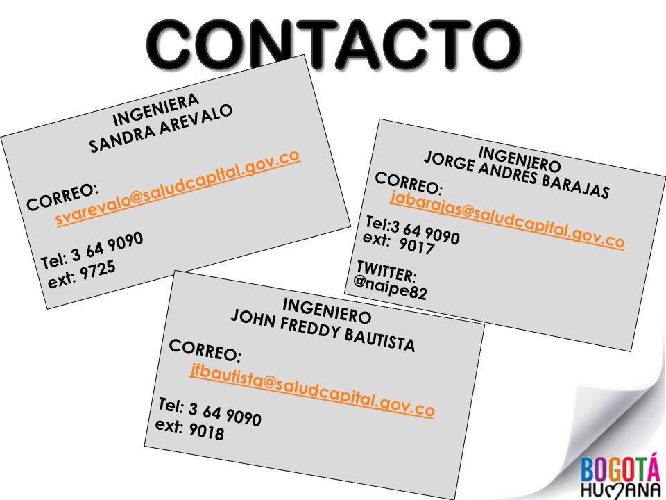 CONTACTO INGENIERA SANDRA AREVALO CORREO: svarevalo@saludcapital.gov.co Tel: 3 64 9090 ext: 9725