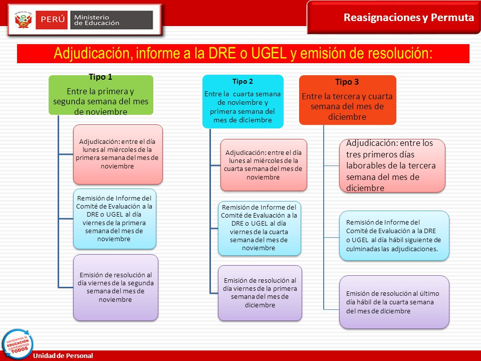 Adjudicación, informe a la DRE o UGEL y emisión de resolución: