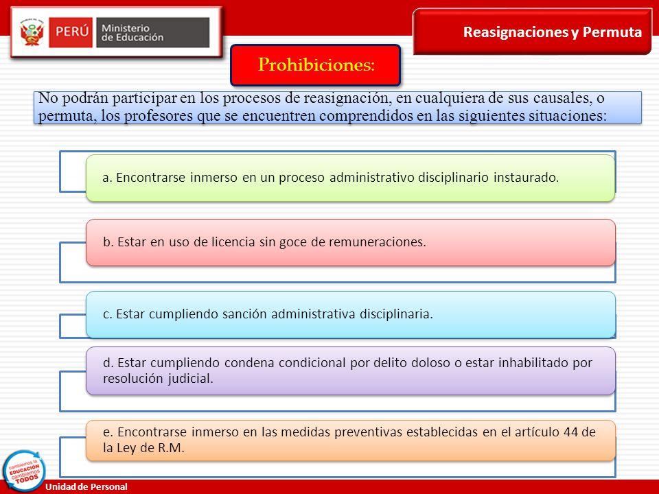 Prohibiciones: Reasignaciones y Permuta