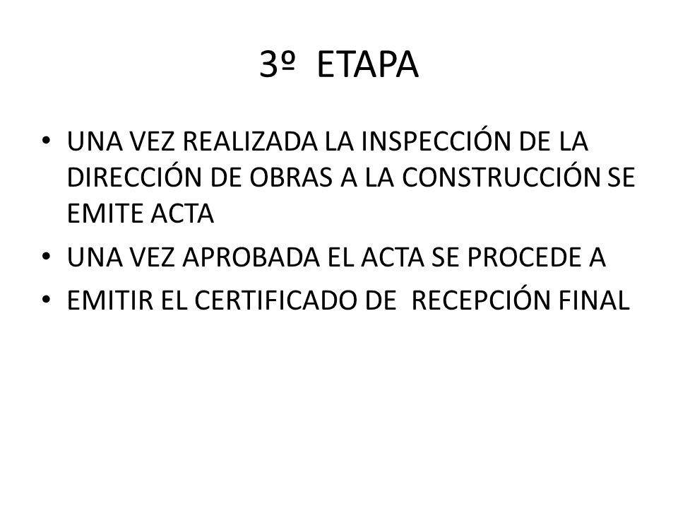 3º ETAPA UNA VEZ REALIZADA LA INSPECCIÓN DE LA DIRECCIÓN DE OBRAS A LA CONSTRUCCIÓN SE EMITE ACTA.