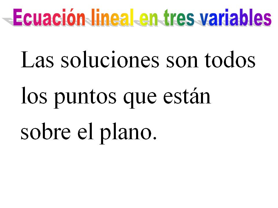 Ecuación lineal en tres variables