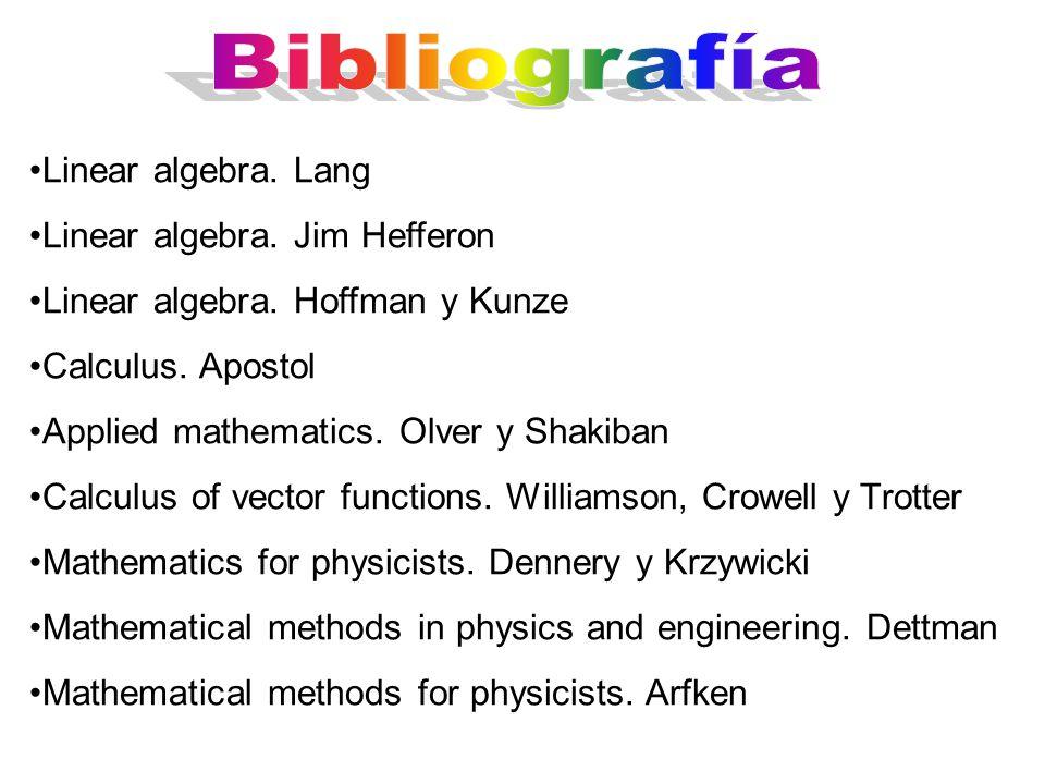 Bibliografía Linear algebra. Lang Linear algebra. Jim Hefferon