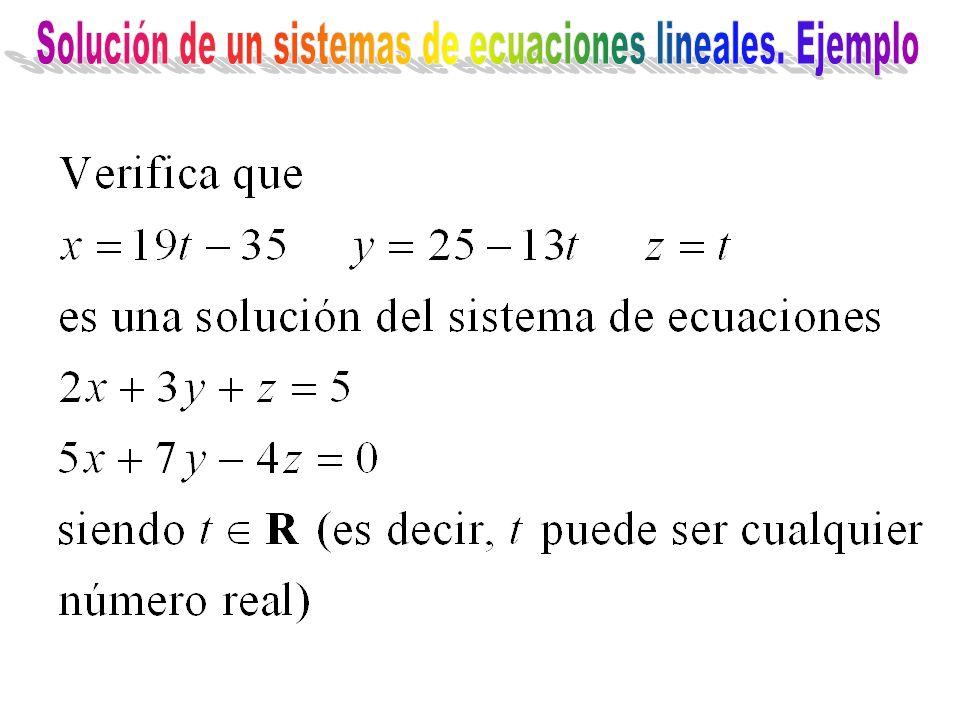 Solución de un sistemas de ecuaciones lineales. Ejemplo