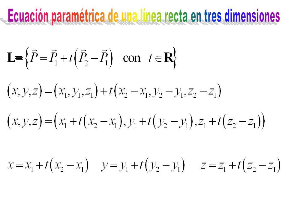 Ecuación paramétrica de una línea recta en tres dimensiones