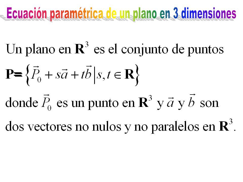 Ecuación paramétrica de un plano en 3 dimensiones