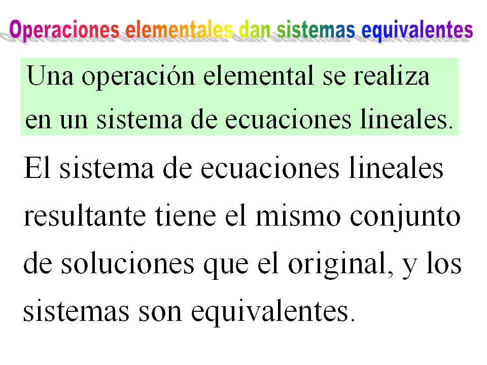 Operaciones elementales dan sistemas equivalentes