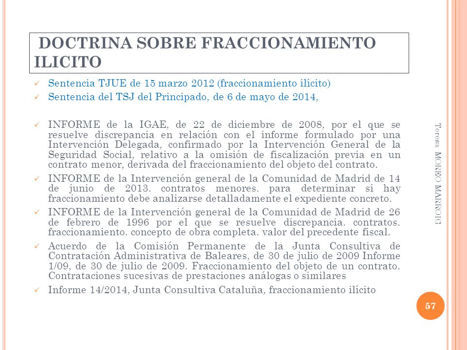 DOCTRINA SOBRE FRACCIONAMIENTO ILICITO