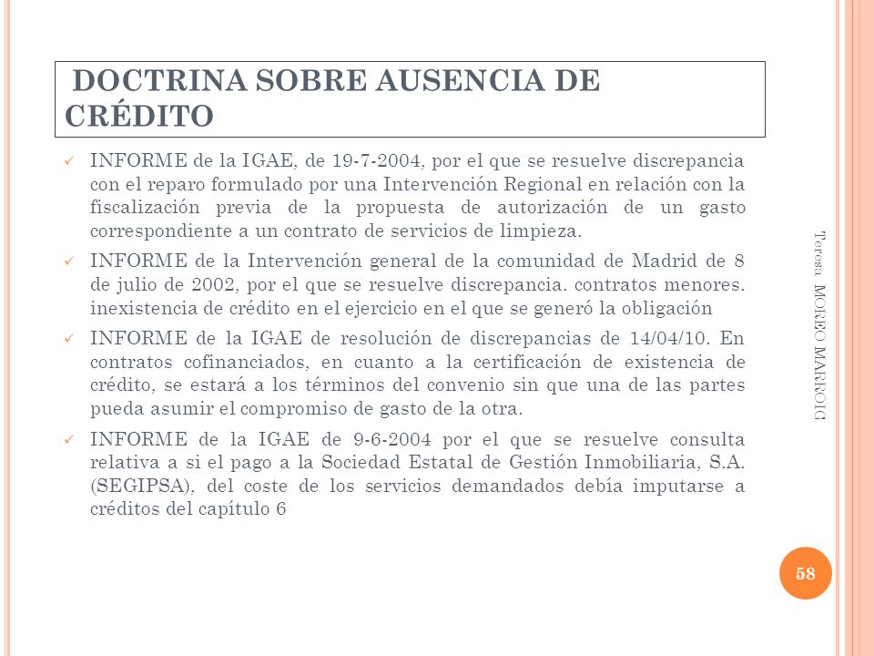 DOCTRINA SOBRE AUSENCIA DE CRÉDITO