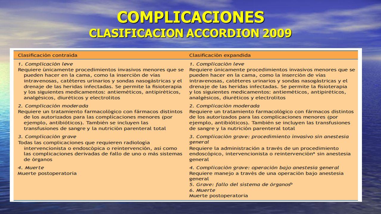 COMPLICACIONES CLASIFICACION ACCORDION 2009