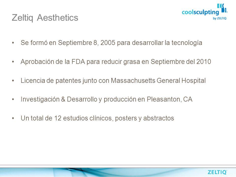 Zeltiq Aesthetics Se formó en Septiembre 8, 2005 para desarrollar la tecnología. Aprobación de la FDA para reducir grasa en Septiembre del 2010.