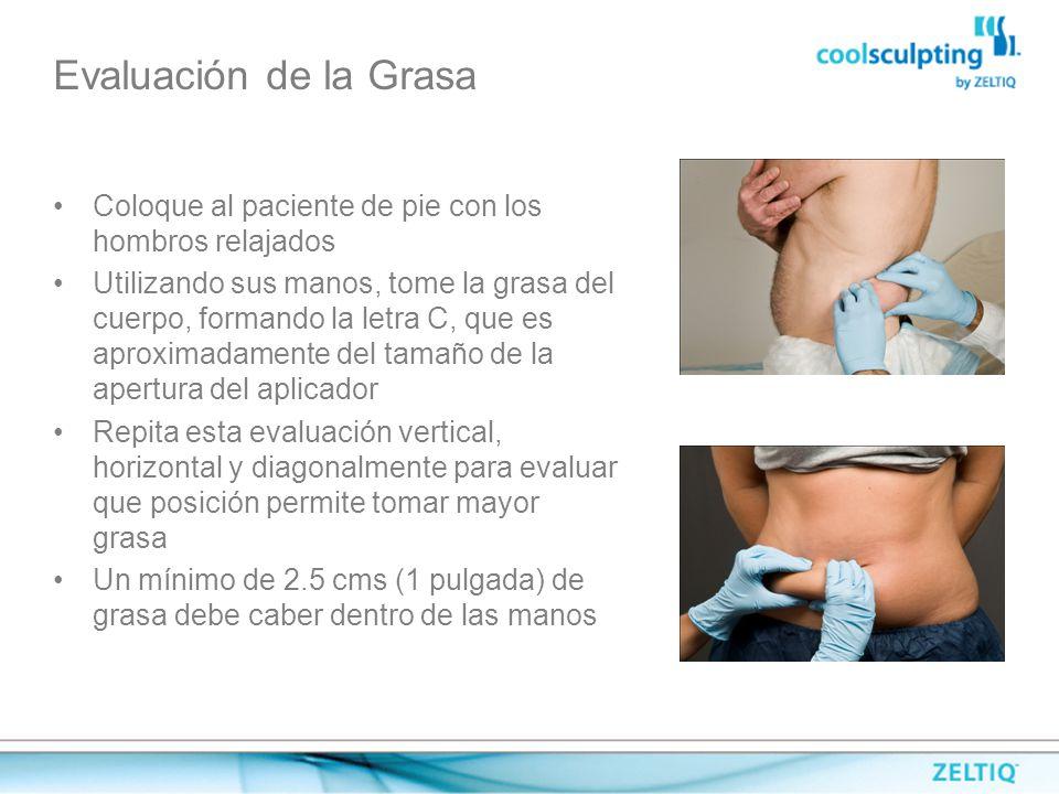 Evaluación de la Grasa Coloque al paciente de pie con los hombros relajados.