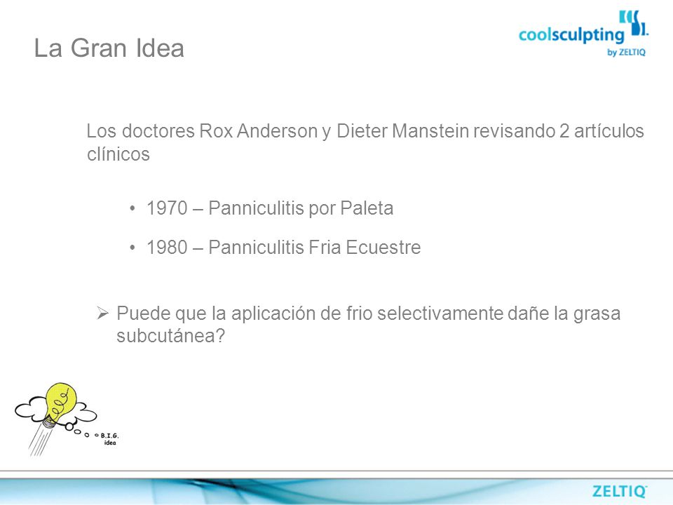 La Gran Idea Los doctores Rox Anderson y Dieter Manstein revisando 2 artículos clínicos. 1970 – Panniculitis por Paleta.