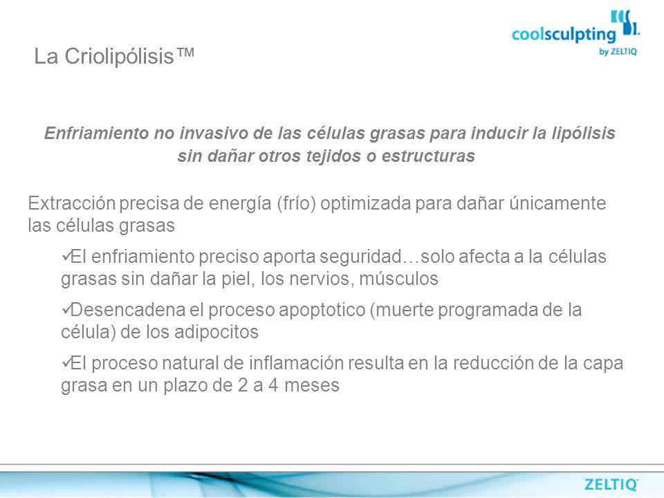 La Criolipólisis™ Enfriamiento no invasivo de las células grasas para inducir la lipólisis sin dañar otros tejidos o estructuras.