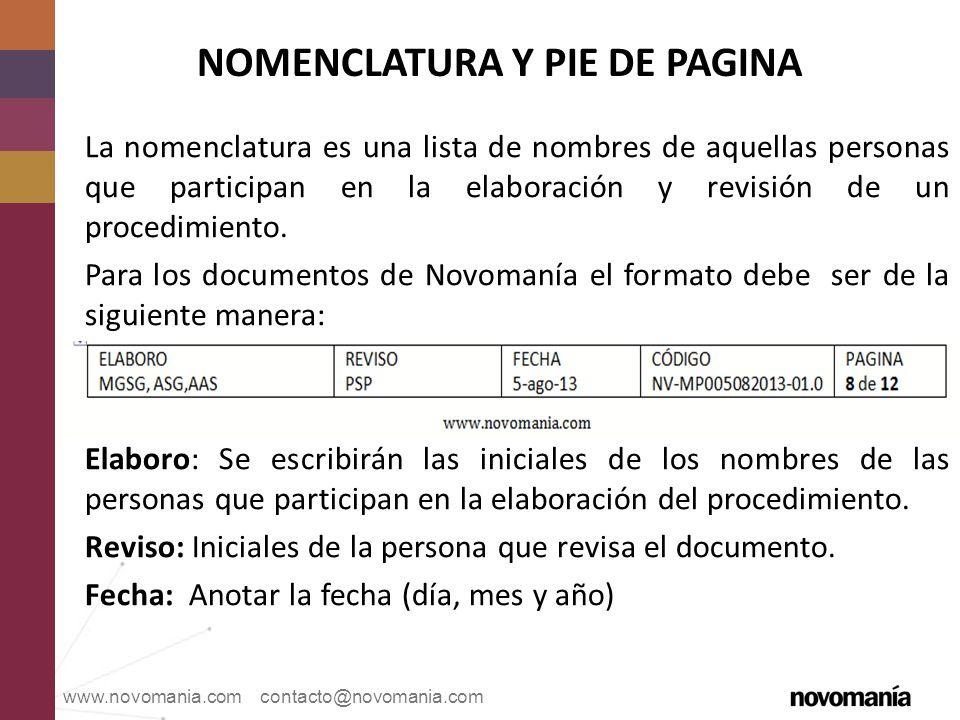 NOMENCLATURA Y PIE DE PAGINA