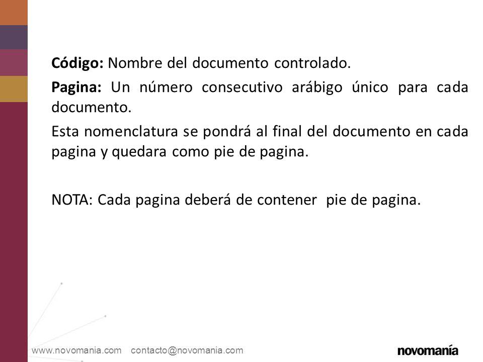 Código: Nombre del documento controlado