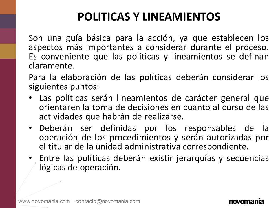 POLITICAS Y LINEAMIENTOS